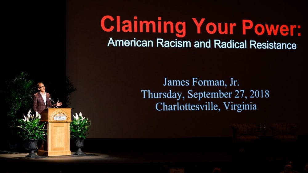 James Forman Jr. lectured at the Paramount Theater on Thursday evening.