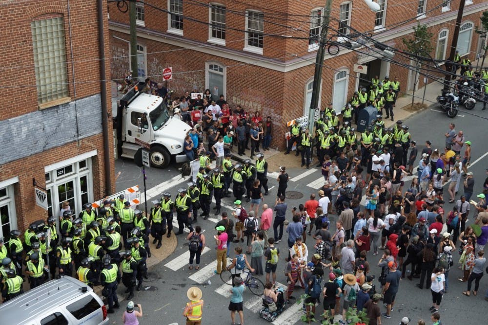<p>There were some tense moments between police and protesters in Downtown Charlottesville on Aug. 12, 2018, although the demonstrations were largely peaceful.&nbsp;</p>