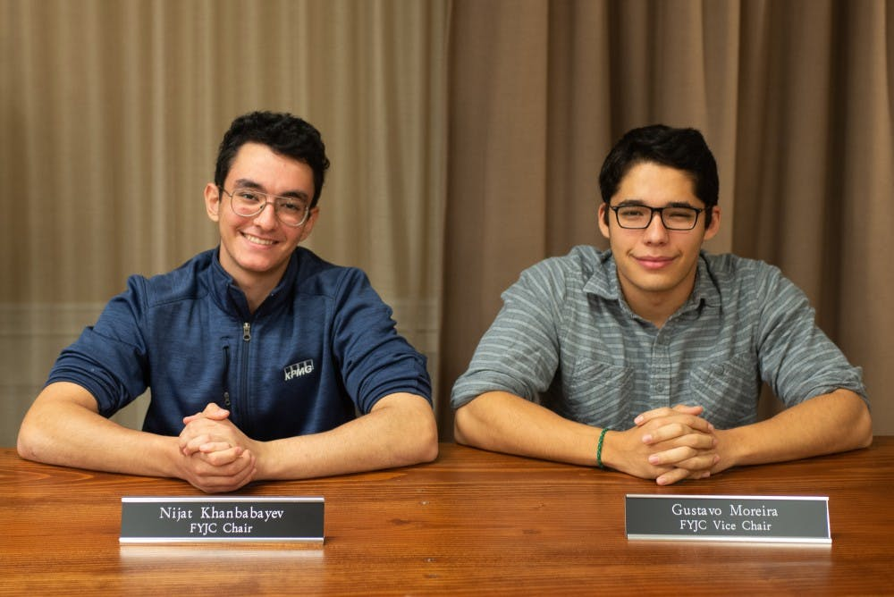 <p>The FYJC holds its own trial for sanctions to determine a fair and reasonable punishment, separate but under the supervision of UJC. Khanbabayev (left) and Moreira (right) both said that attempts to correct student violations should be rehabilitative and educational in nature.&nbsp;</p>