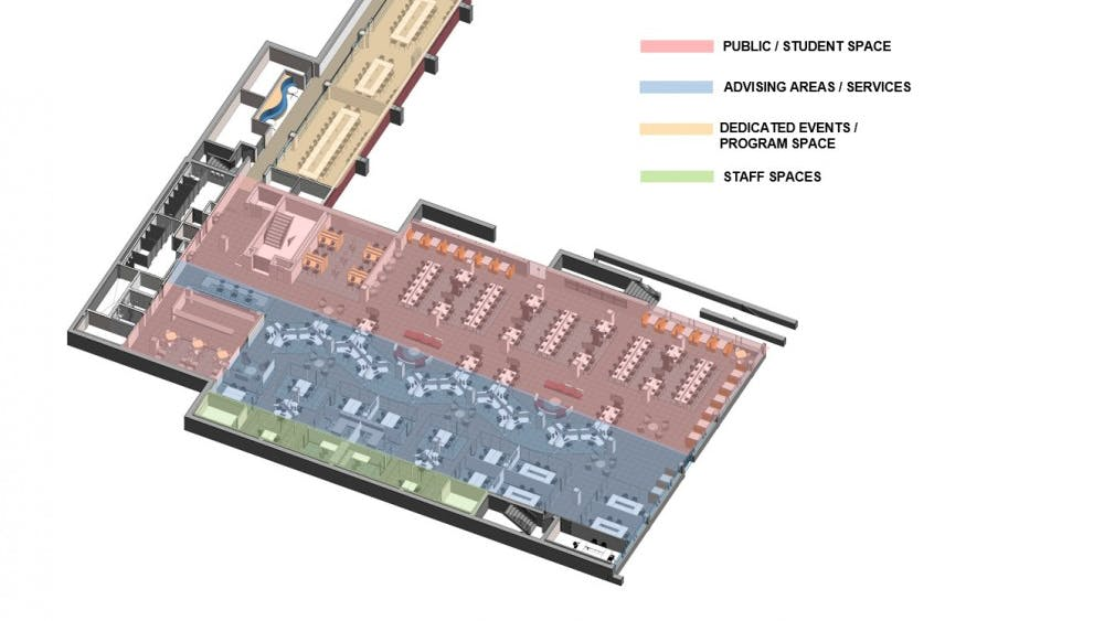 This is the intended design plan for the Total Advising Center on the second floor of Clemons Library.