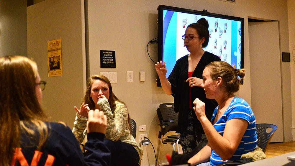 On Wednesday, DEAFS at U.Va. held its first-ever American Sign Language workshop to teach students the basics of speaking in sign.
