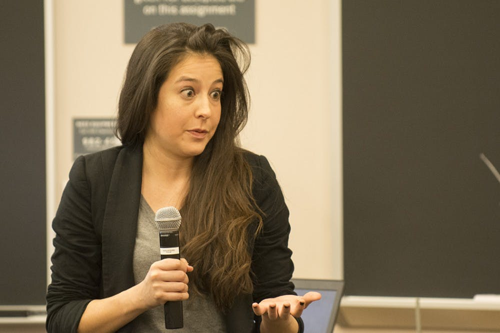 <p>Postdoctoral Fellow Lucila Figueroa&nbsp;speaking at the teach-in.</p>