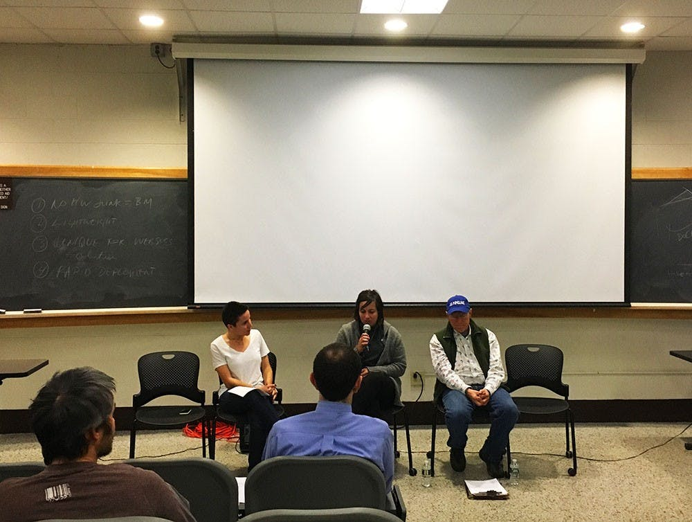 <p>Around 17 people attended the teach-in&nbsp;at Olson Hall on Thursday night.&nbsp;</p>