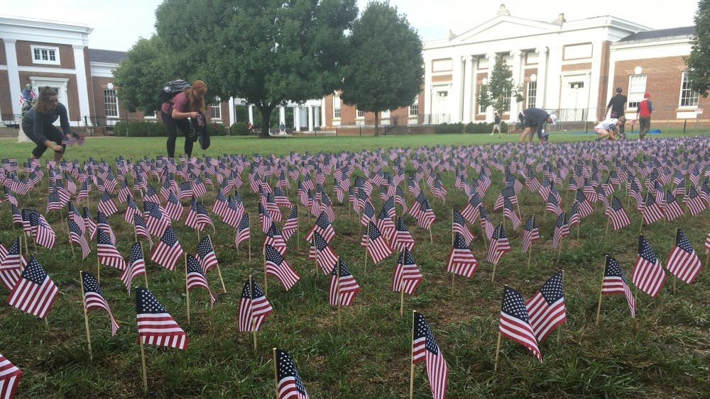 The U.Va. chapter of Young Americans for Freedom placed 3,000 miniature American flags on the South Lawn to commemorate lives lost in the Sept. 11, 2001 attacks.