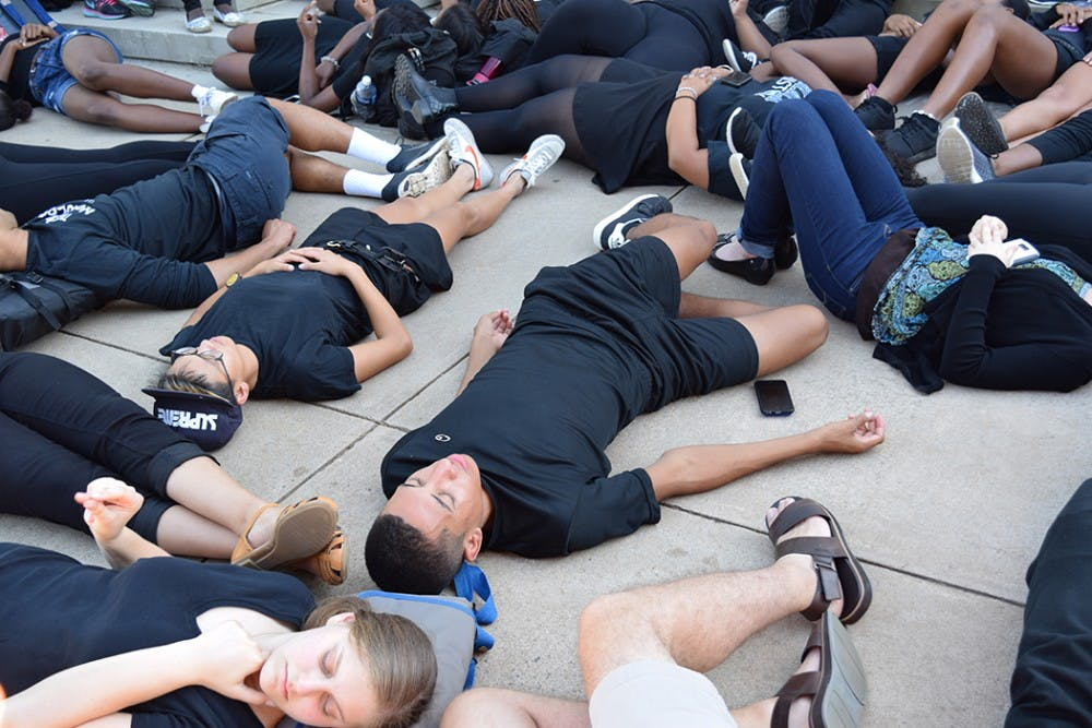 <p>BSA held the die-in in front of Old Cabell Hall to honor the lives of&nbsp;Terence Crutcher and Keith Lamont Scott, who were killed by police officers in recent weeks.&nbsp;</p>
