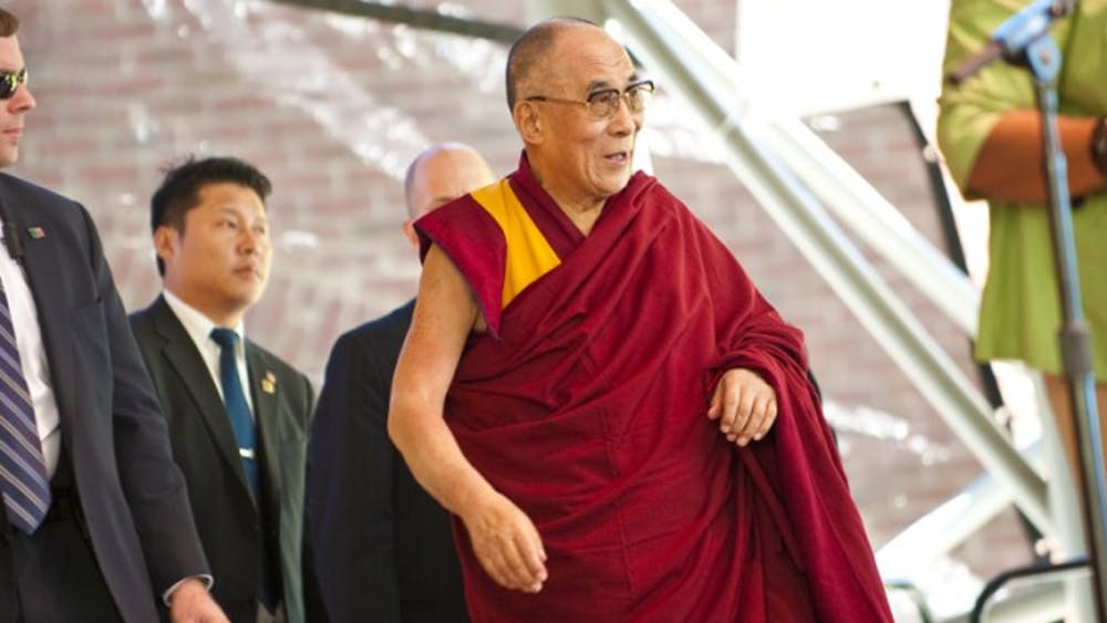 The 14th Dalai Lama, Tenzin Gyatso at the inTellos Wireless Pavilion