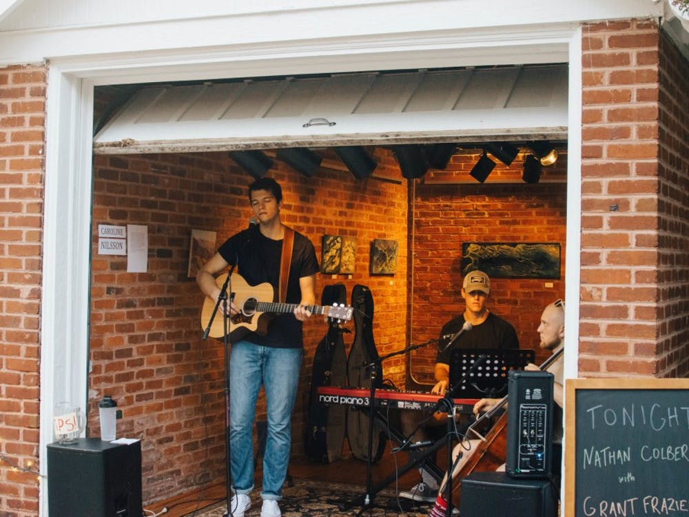 Local musician Grant Frazier performs at The Garage in Charlottesville.