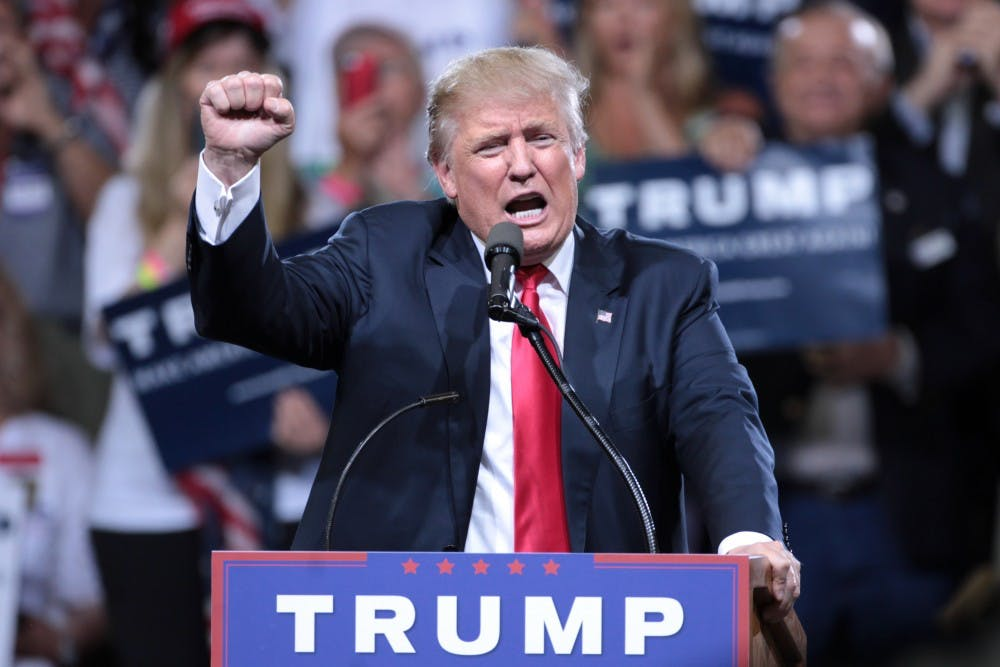 <p>President Trump at a rally for steel workers.</p>