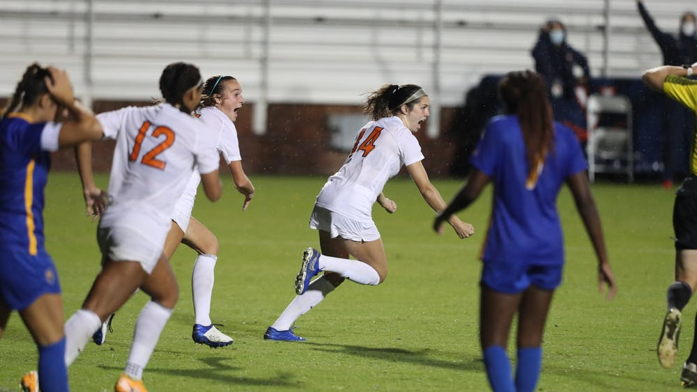 Sophomore midfielder Emma Dawson celebrates her second collegiate goal to secure an overtime win against Pittsburgh Thursday night.