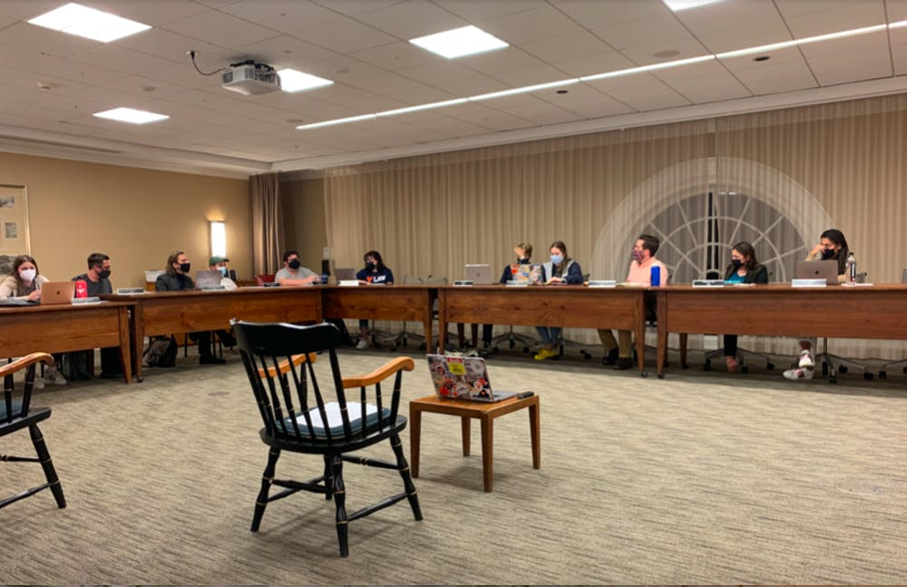 <p>Honor Committee members discuss the viability of the informed retraction alongside Constitutional changes during Sunday night meeting.</p>