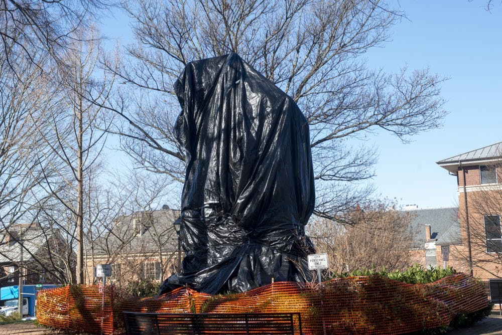 <p>When City Council first ordered the statues to be covered, it did not set a date for the tarps' removal.</p>