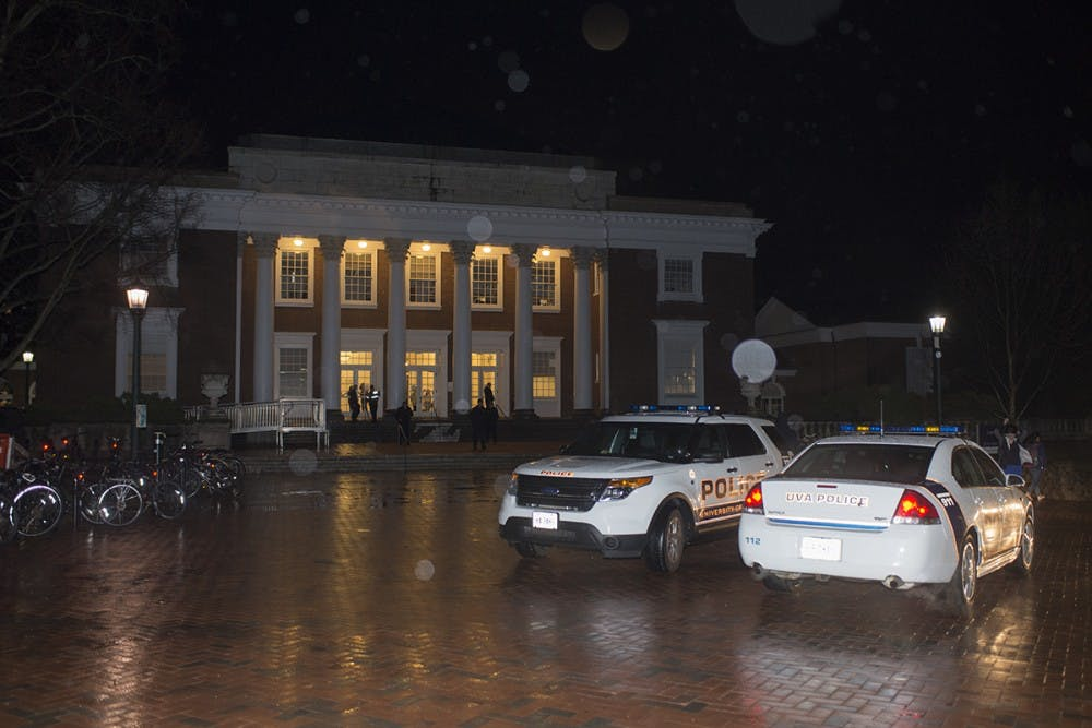 <p>Several minutes after the protesters left the event, &nbsp;University Police Department vehicles arrived on the scene.&nbsp;</p>