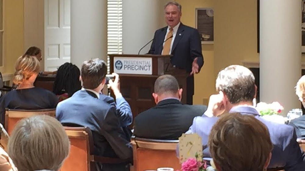 Kaine addressed the fellows of The Mandela Washington Fellowship for Young African Leaders at the Rotunda early Monday afternoon.