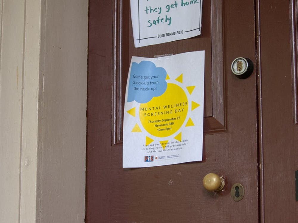 A poster for Mental Wellness Screening Day taped to a Lawn room door