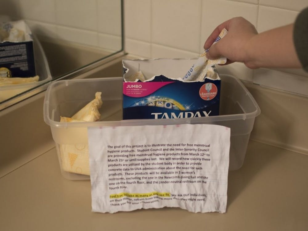 A container with feminine hygiene products in a restroom in Newcomb Hall from Student Council's first trial run earlier this year.