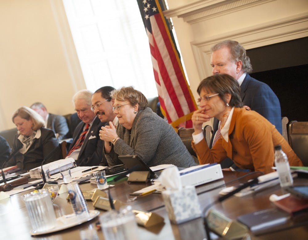 <p>Rector George Martin (above, fourth from the right) has outlined a more tightly controlled Board message through a stricter ethics policy. Former Rector Helen Dragas (above, far right) has resisted these changes, saying they would promote &#8220;an atmosphere of secrecy.&#8221;</p>