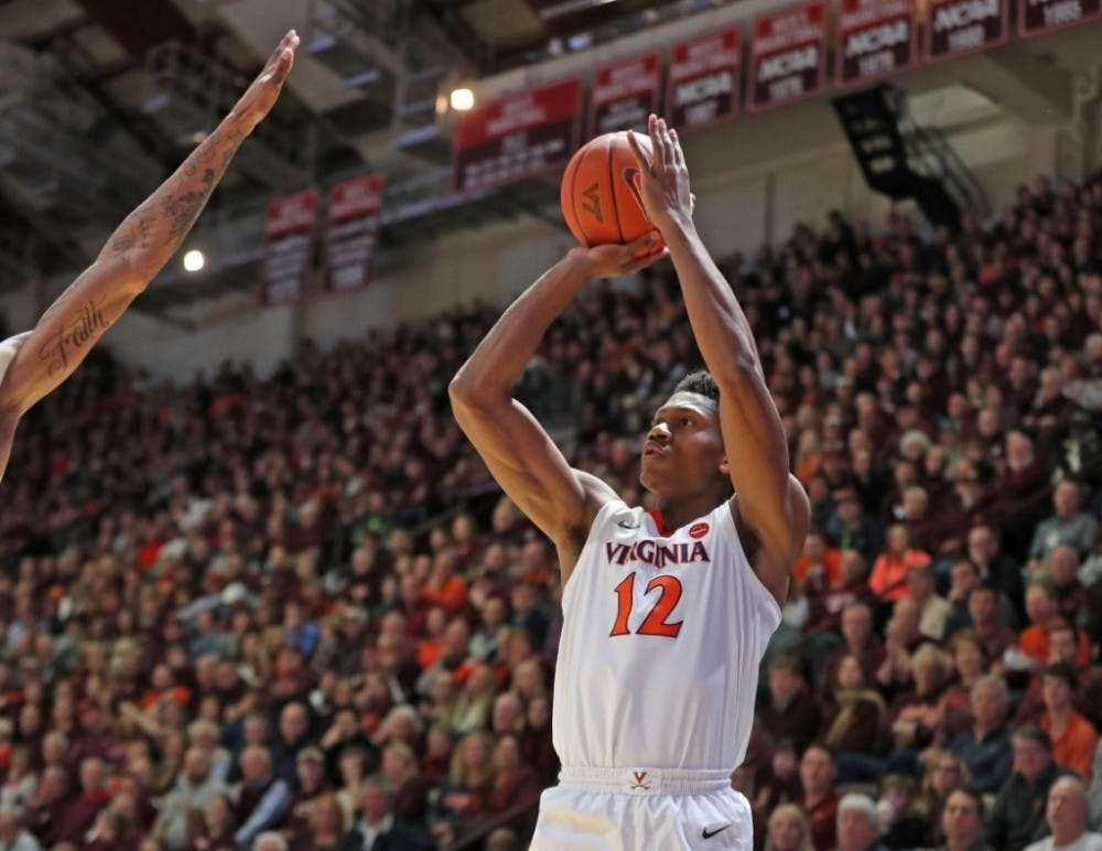 <p>Sophomore guard De'Andre Hunter scored a career-high 26 points on 9-for-11 shooting.</p>