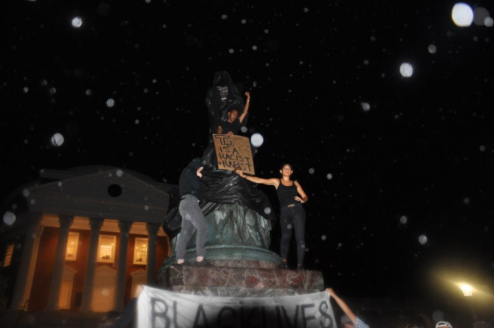 <p>Sullivan denounced the shrouding of the Jefferson statue on the north side of the Rotunda Tuesday night.</p>
