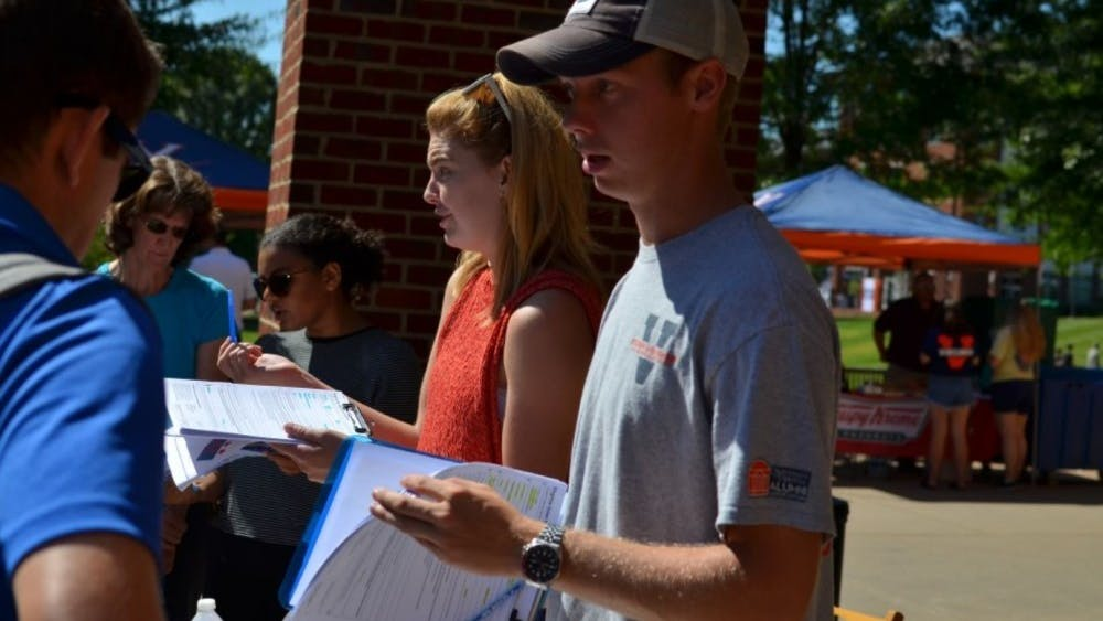University Democrats and Student Council members registered people to vote in the 2018 midterm elections.