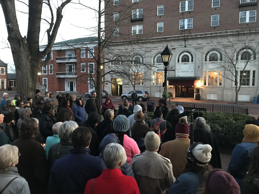 The vigil began and ended on the steps of the courthouse.
