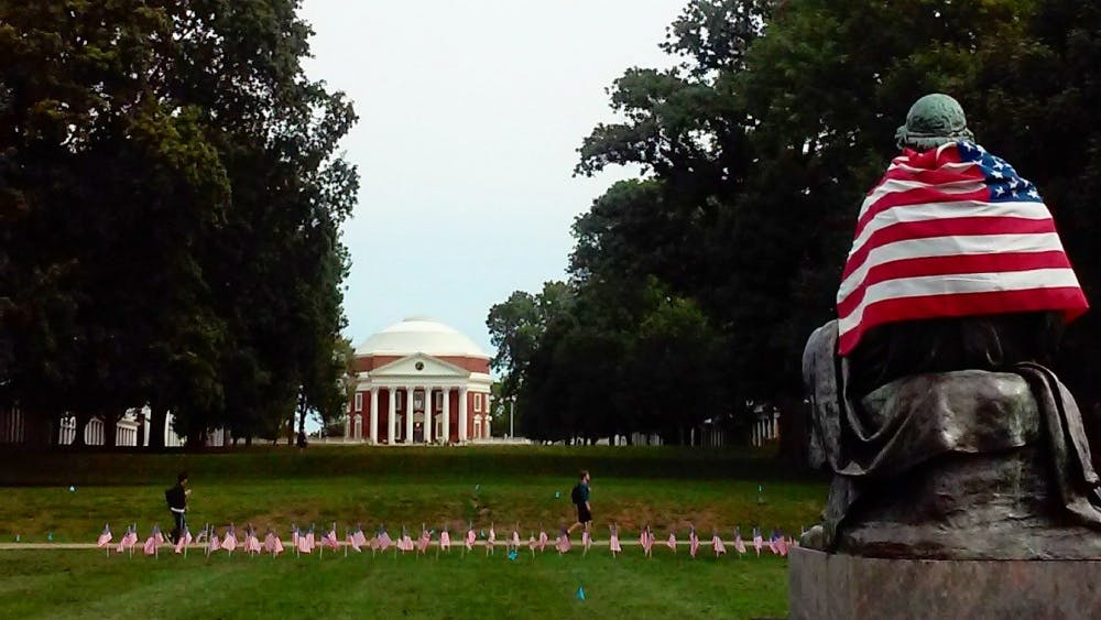 The flags were displayed on the South Lawn.