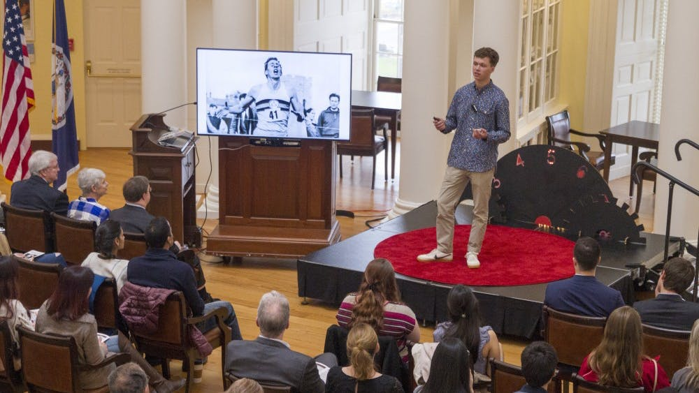 """First-year College student George Messenger won the TEDxUVA Student Speaker competition in the fall. He modified the winning speech slightly to engage with the """"5 Seconds of Courage"""" theme and explored the similarities between hip-hop and classical poetry."""