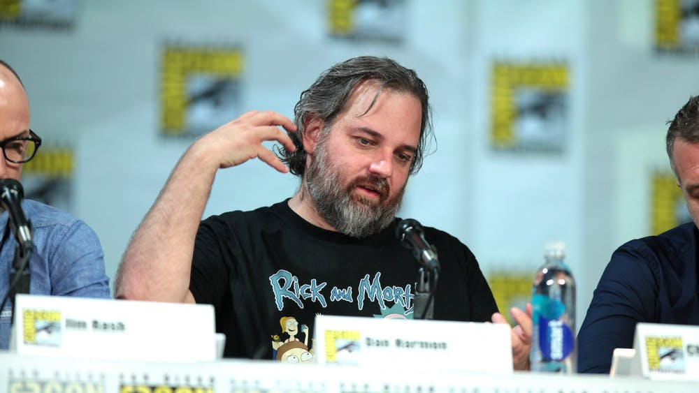 "Dan Harmon, co-creator of ""Rick and Morty"" along with Justin Roiland, speaks at San Diego Comic Con in 2014."