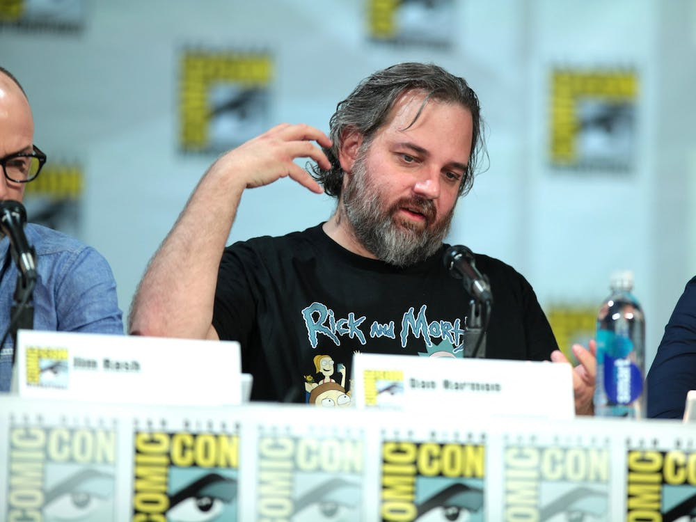 """Dan Harmon, co-creator of """"Rick and Morty"""" along with Justin Roiland, speaks at San Diego Comic Con in 2014."""