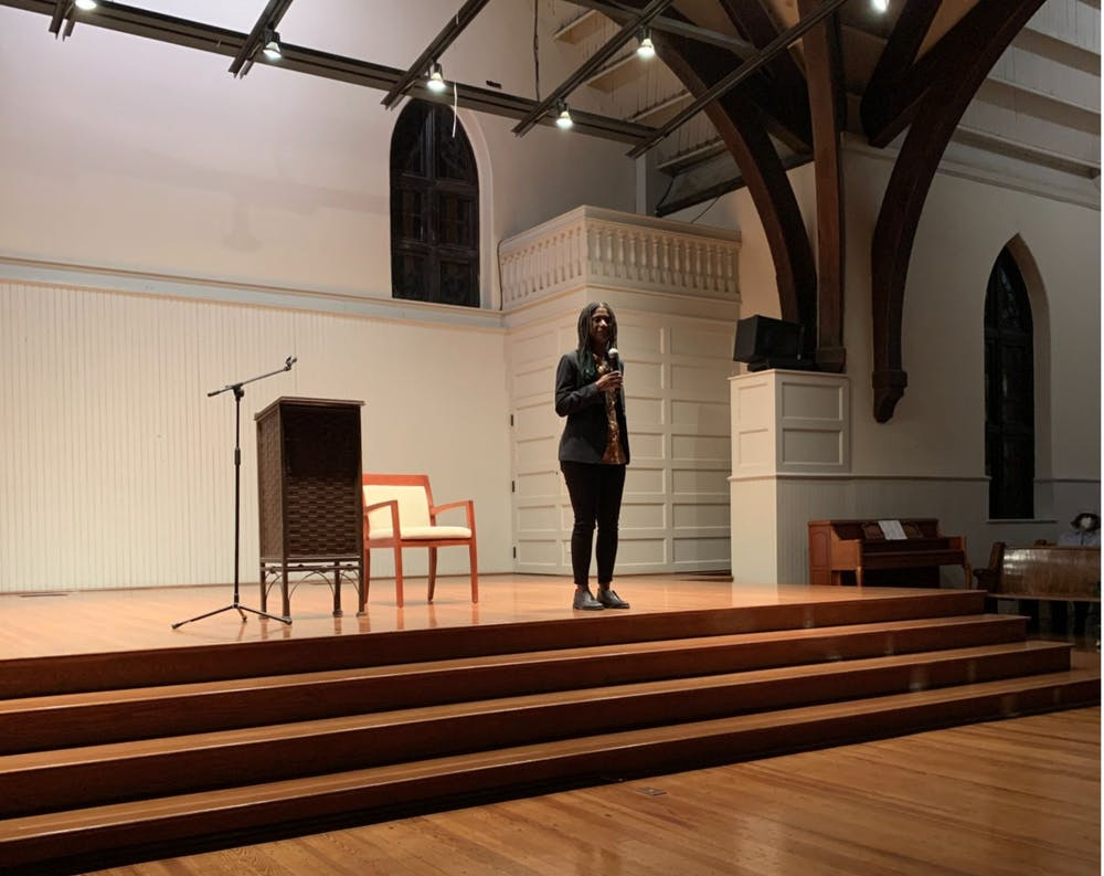 """<p>Local author Jocelyn Nichole Johnson talks to an audience at The Haven on Friday evening about her debut novel, """"My Monticello.""""</p>"""