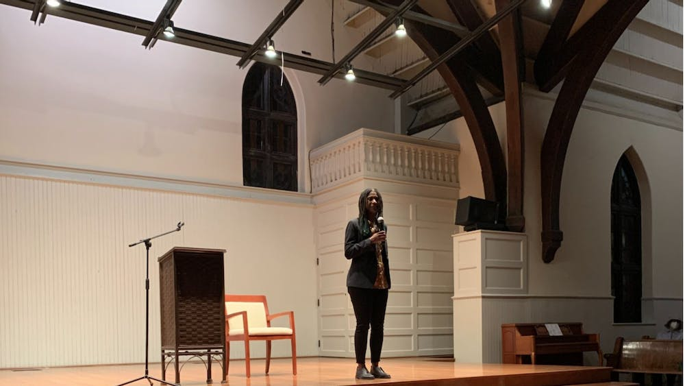 """Local author Jocelyn Nichole Johnson talks to an audience at The Haven on Friday evening about her debut novel, """"My Monticello."""""""