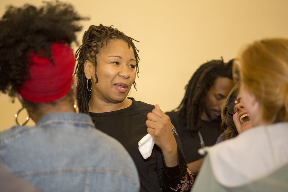 <p>Independent candidate Nikuyah Walker greeting supporters at the Jefferson School on Tuesday evening.&nbsp;</p>