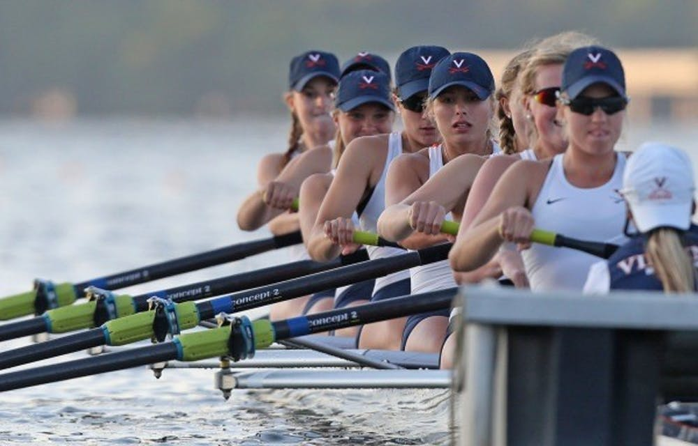 <p>The Cavaliers' Varsity Four boat — featuring reigning NCAA champions senior Hannah Solis-Cohen and juniors Ellen Pate and Marijane Brennan — came in fourth place in the Championship Fours, while the Virginia Varsity Eight placed third in the Championship Eights.</p>