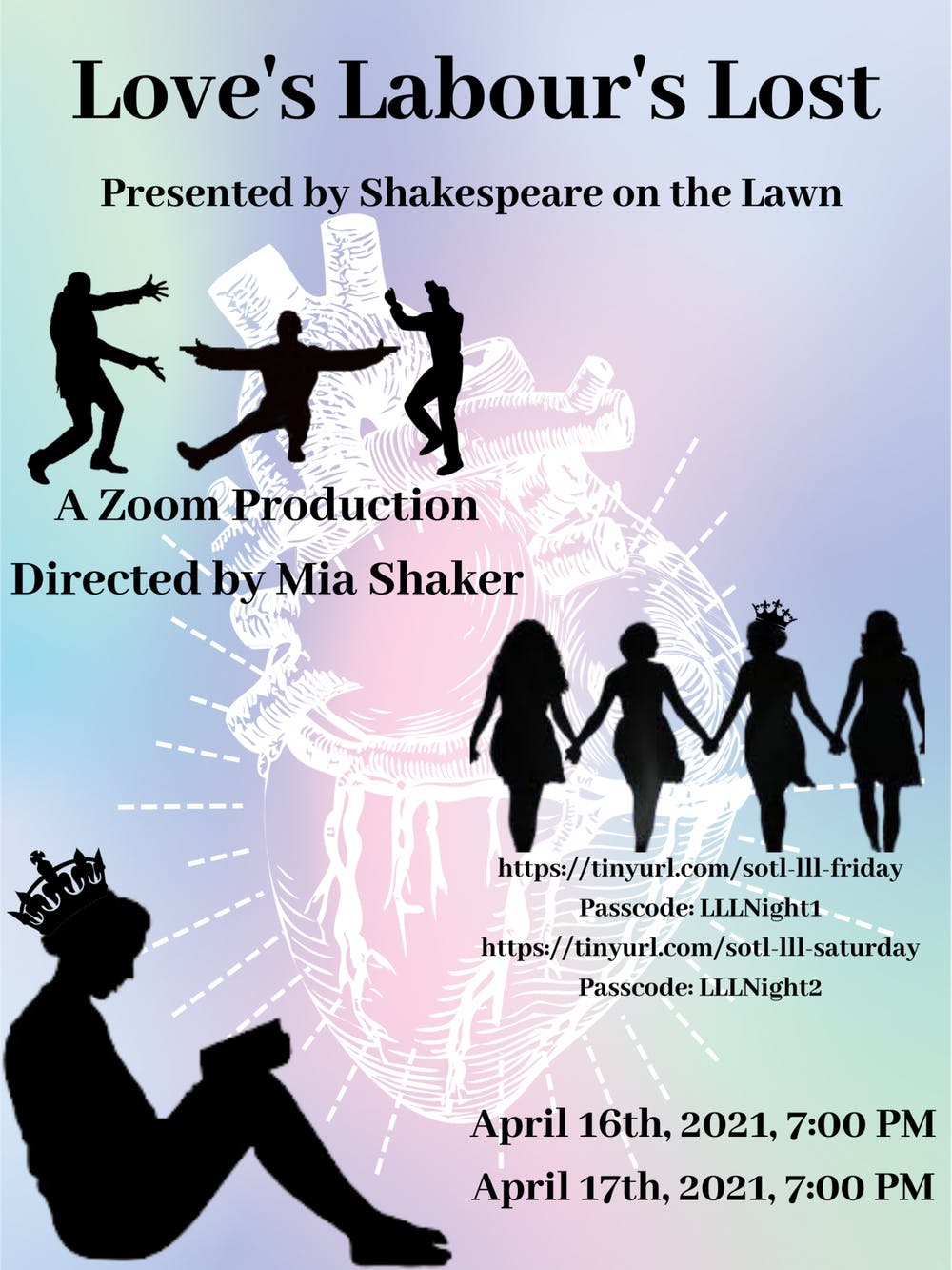 """<p>Shakespeare on the Lawn's production of """"Love's Labour's Lost"""" will be presented virtually via Zoom April <a href=""""https://www.facebook.com/events/178523127435447/""""><u>16</u></a> and <a href=""""https://www.facebook.com/events/1152843128498199/""""><u>17</u></a> at 7 p.m.</p>"""