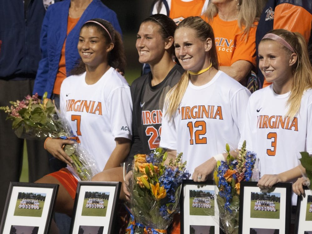 Amber Fry (3), far right, scored a goal against No. 5 Virginia Tech in the 9th minute of the match.