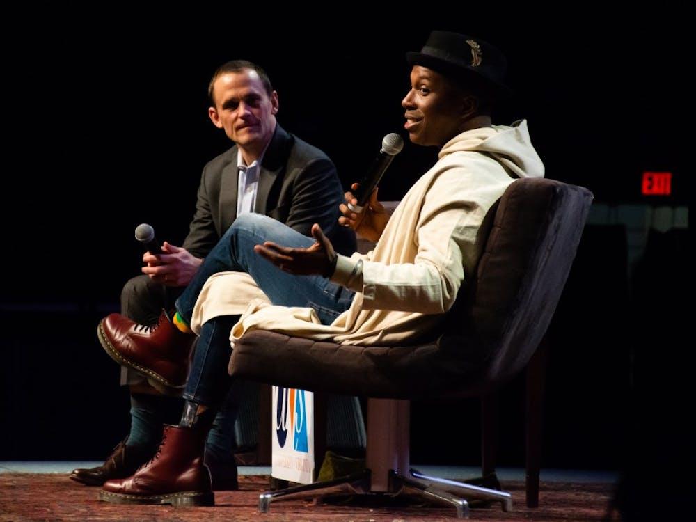 Leslie Odom Jr. spoke with President Ryan for the Speaker for the Arts series at John Paul Jones Arena.