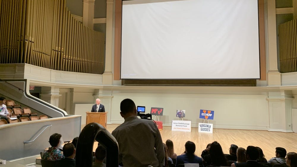 Dean Allen Groves opened the remembrance event with a few remarks about Baddeliyanage's accomplishments and positive impact on the community.