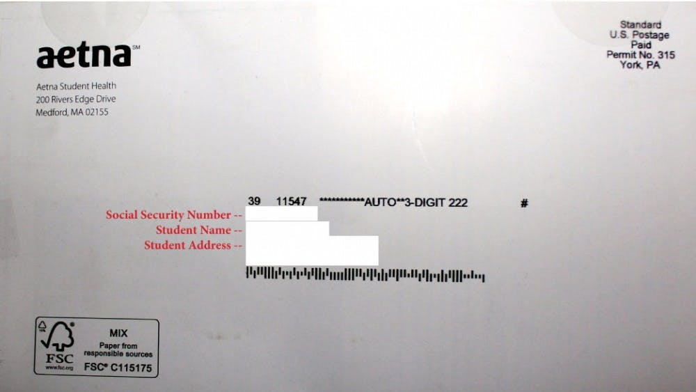 A mailer sent by Aetna Student Health company informing students of available insurance plans for the 2013-14 academic year included students' social security numbers on the address labels. [RED LETTERS added — actual information removed to protect privacy.]