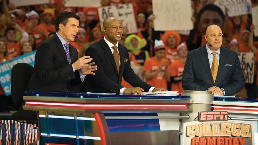 """College GameDay"" analysts Rece Davis, Jay Williams and Seth Greenberg will return to John Paul Jones arena for the third time Saturday."