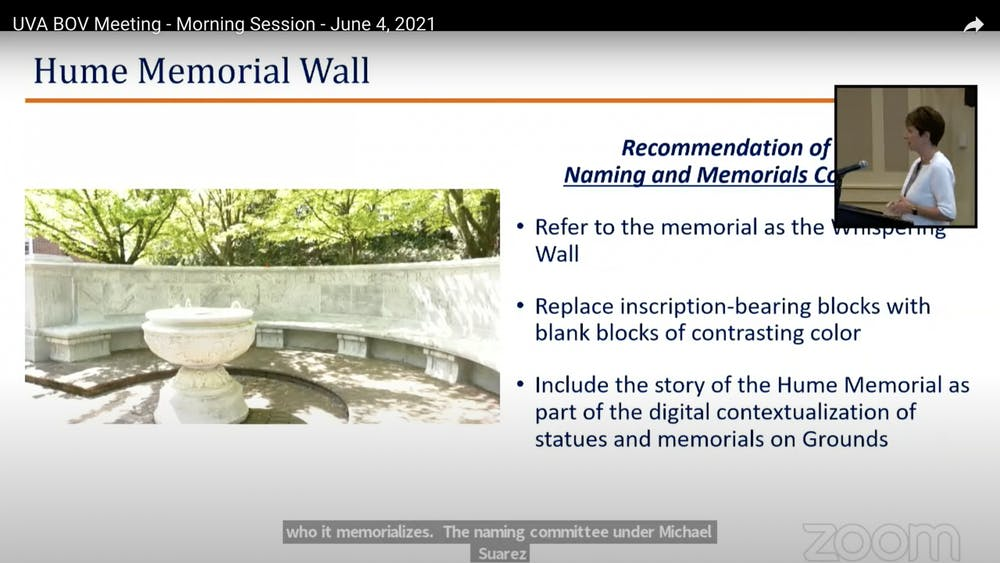"""Rather than replacing the inscription with blocks of the same color, the Naming and Memorials Committee noted that contrasting blocks will """"mark the permanent change that has been made to [the] structure."""""""
