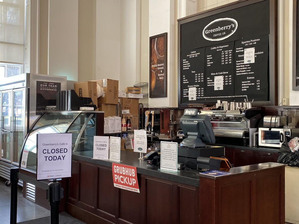 In response to Greenberry's closing, students were encouraged to make use of other cafe options close-by including Einstein Bros. Bagels in the Bookstore, Starbucks in Newcomb Hall and the West Range Café. (Paige Waterhouse // CD Photo)