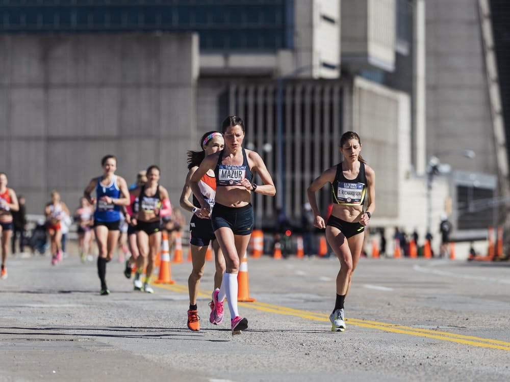 Ann Mazur running during mile 26 of the Olympic Trials.