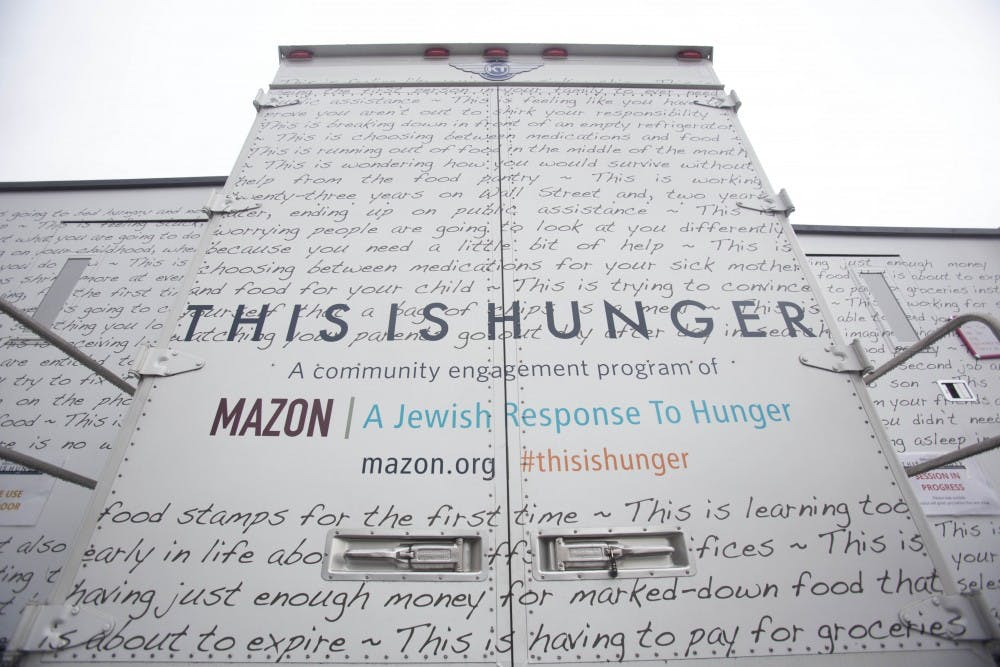 <p>Challah for Hunger, Brody Jewish Center and the U.Va. Food Collaborative worked with Mazon to create an exhibit on wheels addressing the severity of hunger in the U.S.<br> </p>