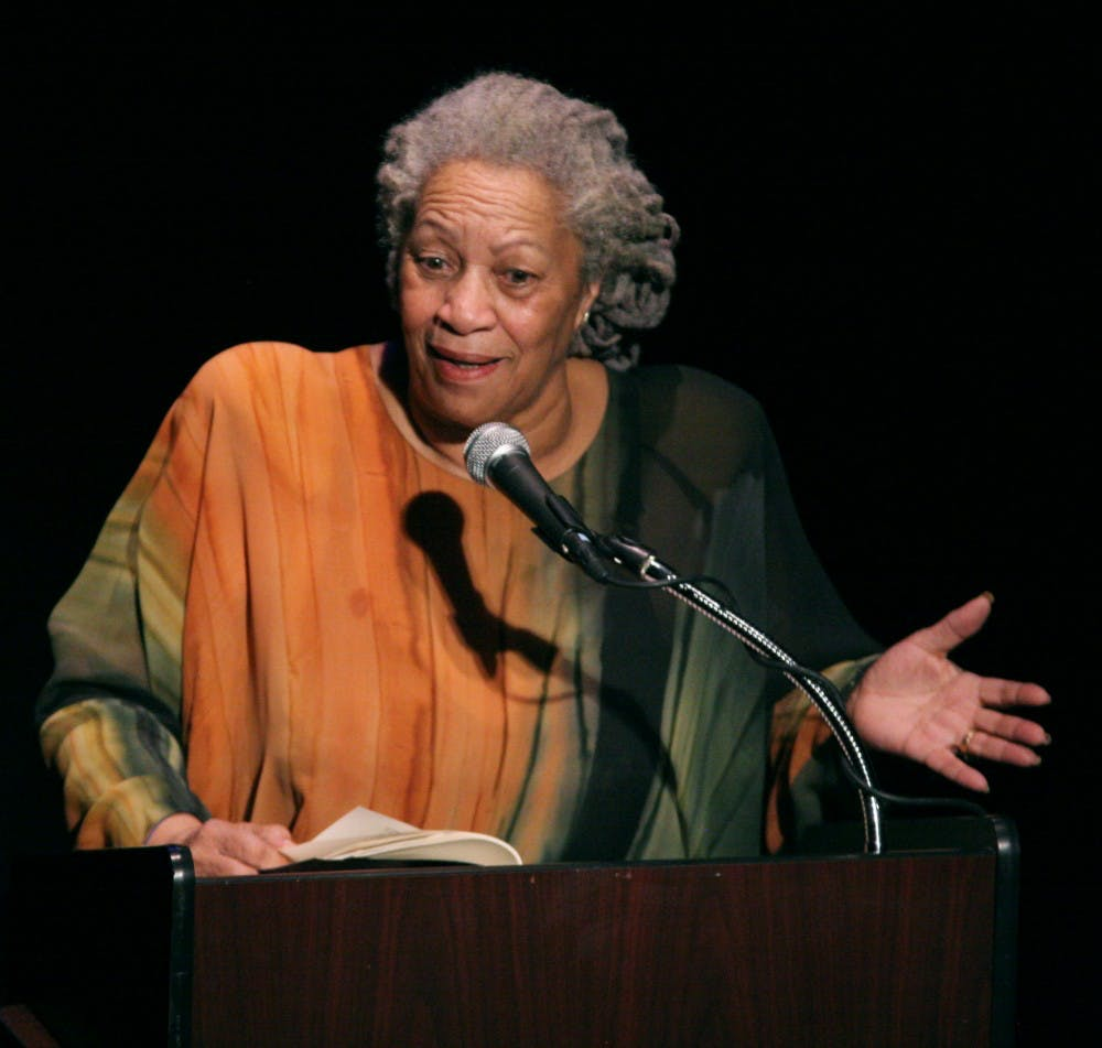 <p>Toni Morrison speaking in 2008 in New York City.&nbsp;</p>