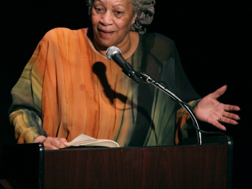 Toni Morrison speaking in 2008 in New York City.