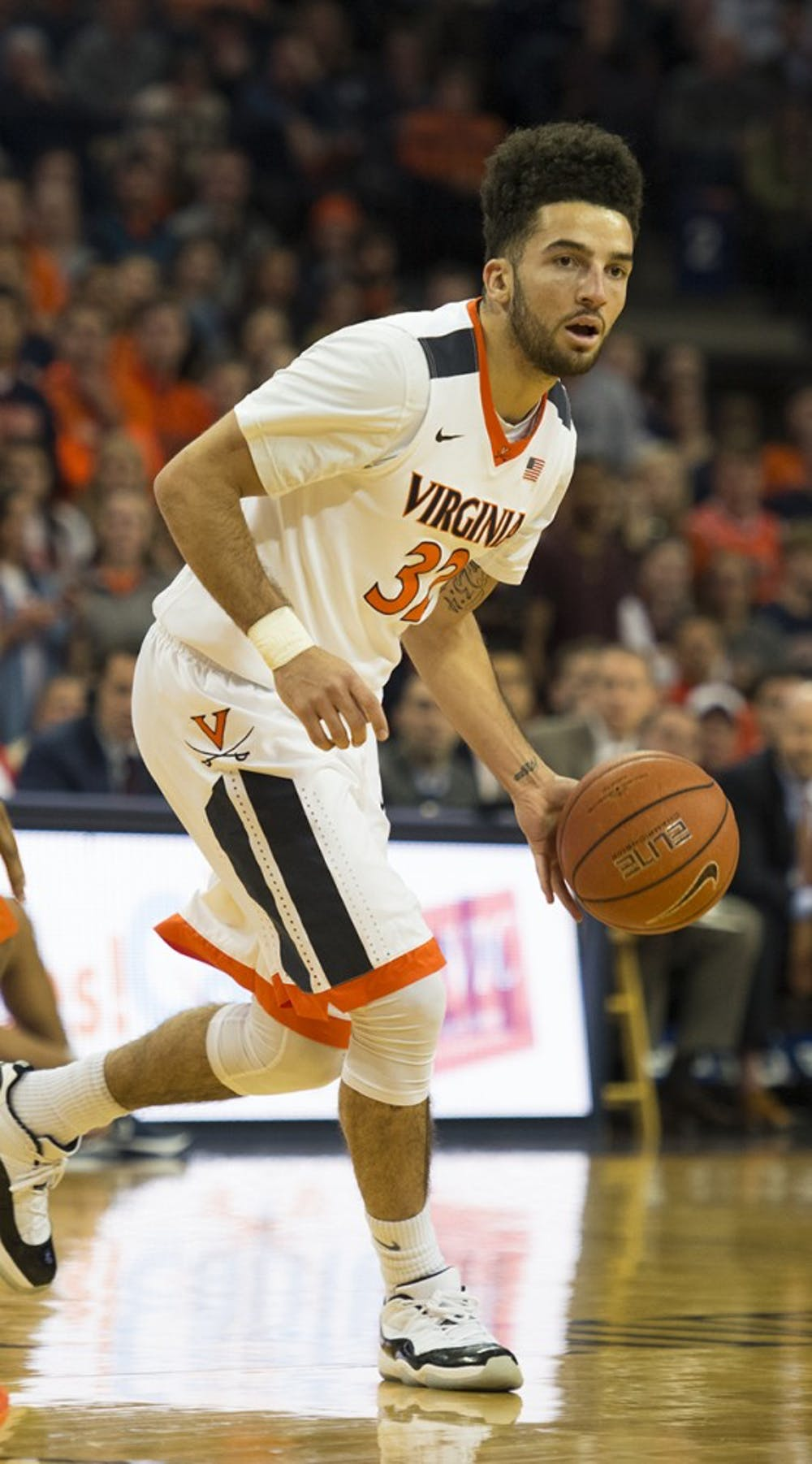 <p>Senior guard London Perrantes is the elder statesman for Virginia basketball this season.</p>