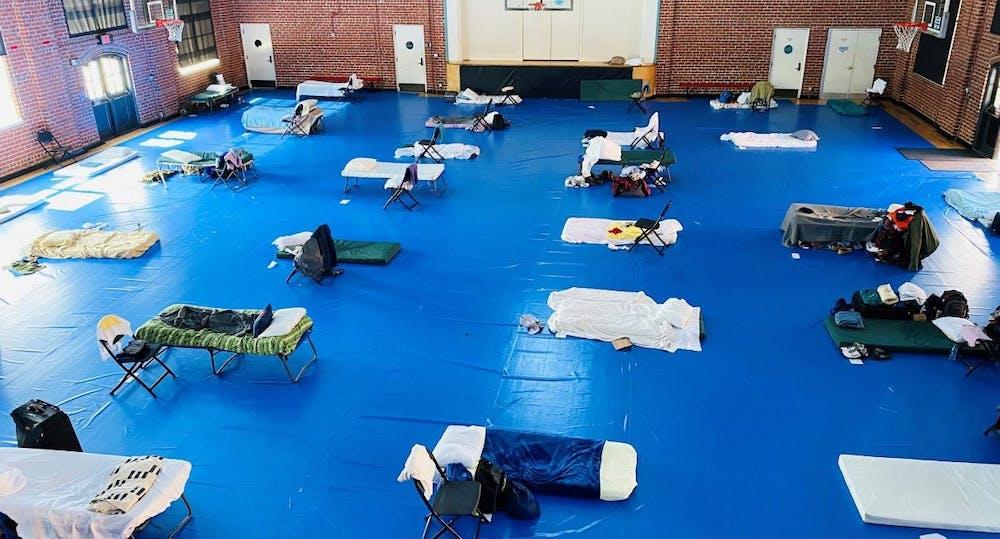 <p>&nbsp;This is the Key Rec Center where male homeless individuals sleep 6 feet apart.&nbsp;</p>