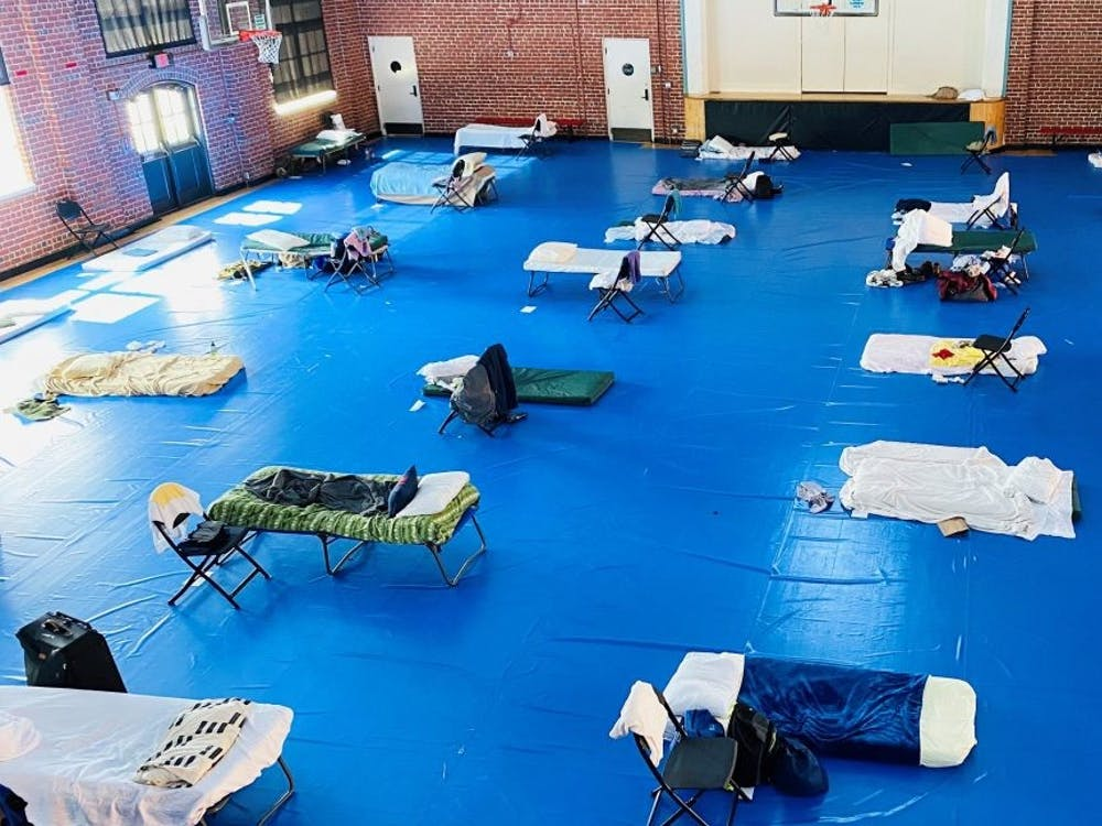 This is the Key Rec Center where male homeless individuals sleep 6 feet apart.