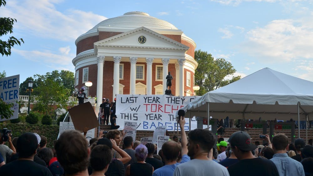 Students and community members gathered in front of the Rotunda on the one-year anniversary of the torchlit white supremacist march of Aug. 11, 2017.