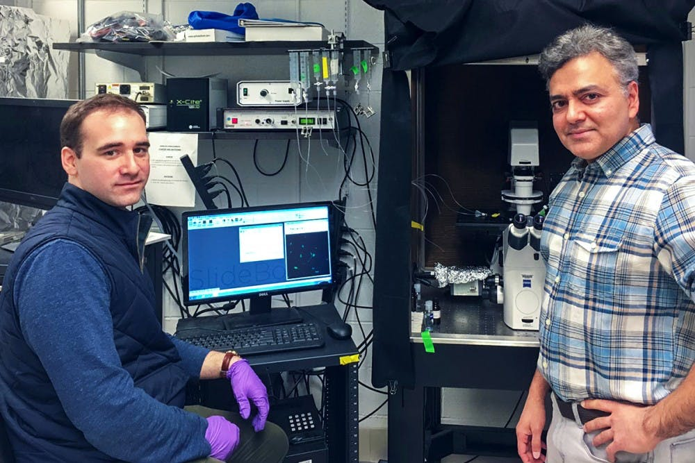 <p>Graduate student Michael Schappe (left) and Asst. Prof. Bimal Desi (right) identified the TRPN7 ion channel associated with inflammation related to diseases such as Alzheimer's.</p>