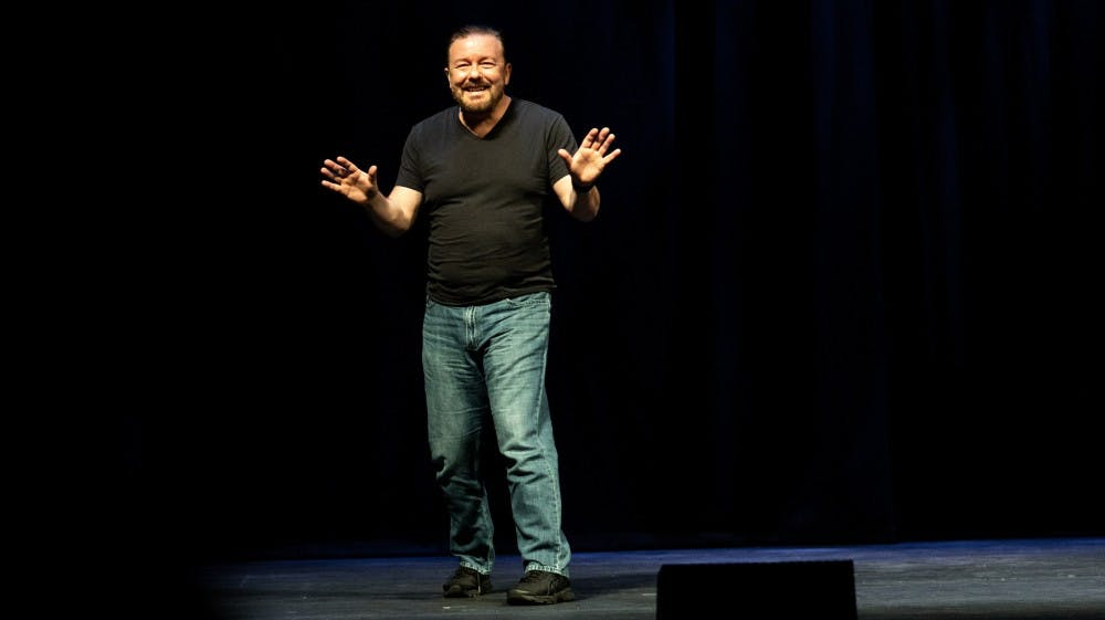 <p>Ricky Gervais performs in December 2018.</p>